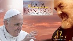 Poster about Pope Francis' visit to Padre Pio's birthplace and shrine