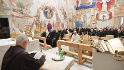 Father Raniero Cantalamessa delivers a sermon in the Vatican's Redemptoris Mater Chapel