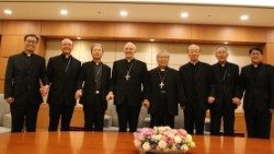 Archbishop Alfred Xuereb (4th from left), Apostolic Nuncio to South Korea was welcomed by bishops on arrival in Seoul on May 27