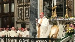Cardinal Parolin celebrating Mass with the community of Sant'Egidio