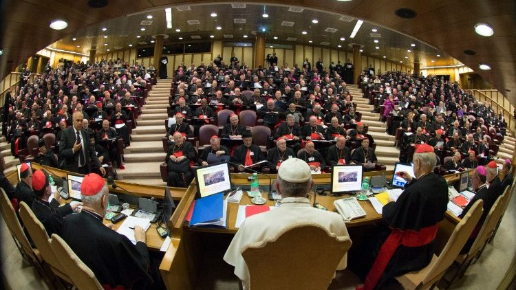Pope Francis and the Bishops united in the Synod Hall