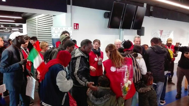 A group of refugees arrives in Rome thanks to a Humanitarian Corridor and are welcomed at the airport