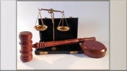 Court hammer and scales of justice