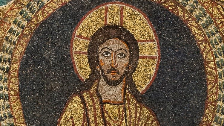 Jesus Christ, Pantocrator (ruler of the universe), detail from the Basilica of Santa Prassede, Rome