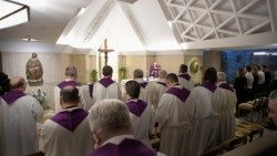 Pope celebrating Holy Mass in the chapel of Santa Marta in the Vatican, 5 March, 2018.
