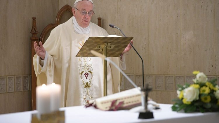 Pope Francis during Mass at the Casa Santa Marta