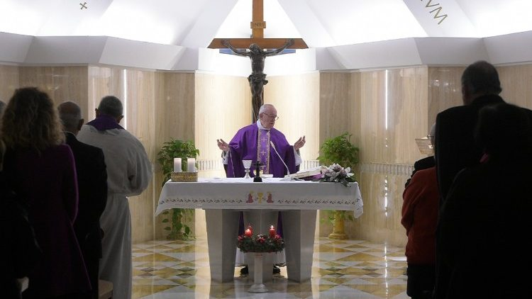 Pope Francis at Mass in the Santa Marta chapel
