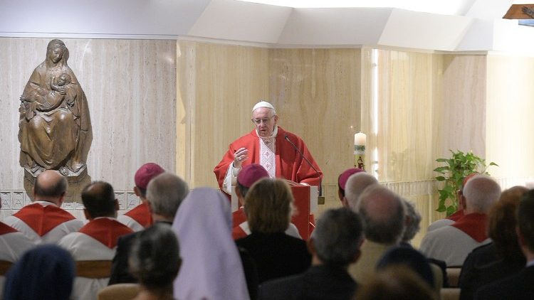 Pope Francis celebrates Mass in Santa Marta's chapel
