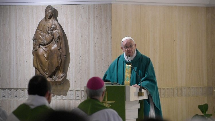 Pope Francis preaches at Mass in the Casa Santa Marta