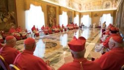 A consistory of cardinals with Pope Francis in the Vatican.