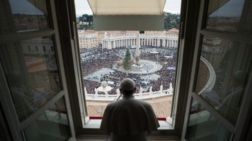 Pope Francis looks out over the crowds in St Peter's Square, as he prays for victims of terror attacks in Afghanistan.