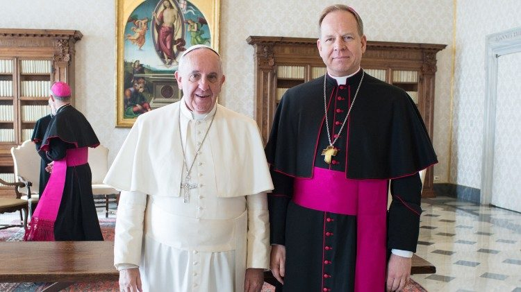 Pope Francis and Archbishop Gintaras Grusas of Vilnius, Lithuania, in the Vatican on February 2, 2015.