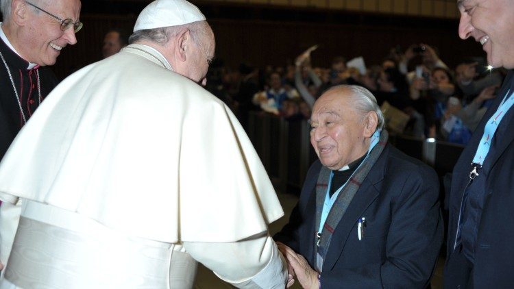 Pope Francis meeting Fr. Gustavo Gutierrez in the Vatican on November 22, 2014.