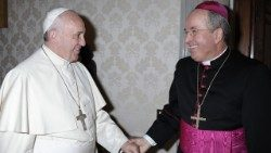 Pope Francis greets Archbishop Ivan Jurkovic, Holy See's Permanent Observer to the UN