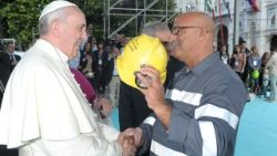 Pope Francis at a meeting with workers in Cagliari