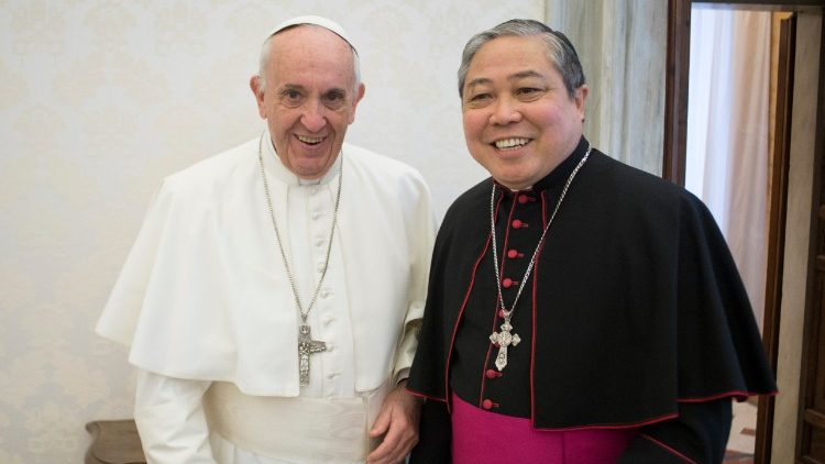 Pope Francis with Archbishop Bernardito Auza, Holy See's Permanent Observer to the UN