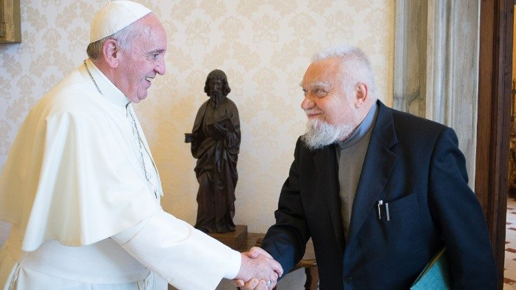 Pope Francis and Enzo Bianchi,  founder of the Bose Monastic Community