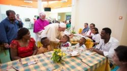 Pope Francis at lunch with the poor of Molise, Italy,  5 July, 2014.