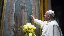 Pope Francis prays before Our Lady of Guadalupe