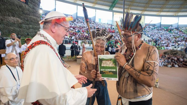 Pope Francis meeting the indigenous people of Peru's Amazonia region in Puerto Maldonado, Jan. 19, 2018.