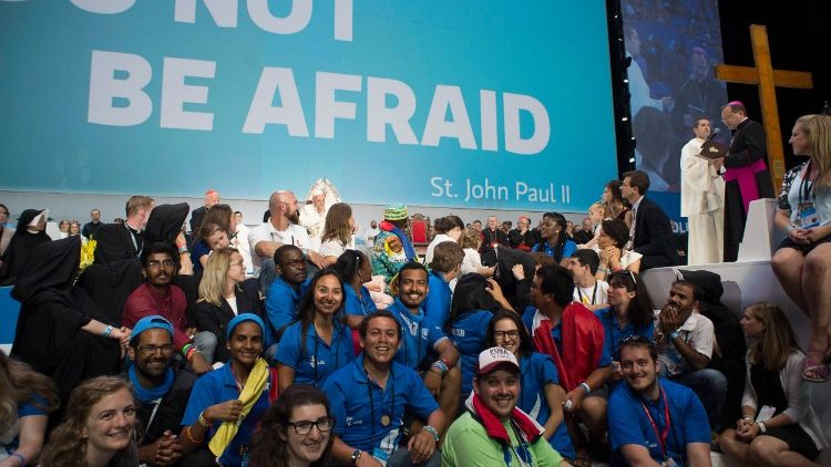Pope Francis with World Youth Day volunteers during his 2016 visit to Poland