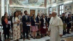 Pope Francis meeting participants in the 2018 Vatican Observatory Summer School in Astrophysics on June 14.