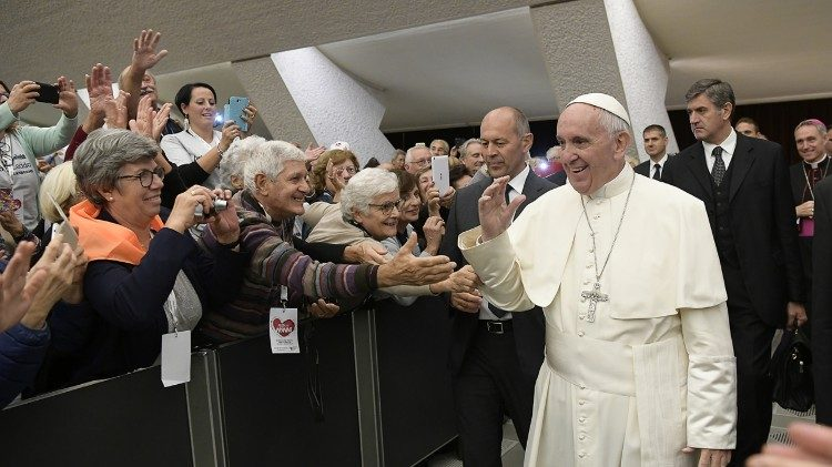 (File photo) Pope Francis greets elderly people at an Audience in the Vatican