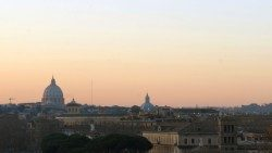 Panoramic view of Vatican and the city of Rome