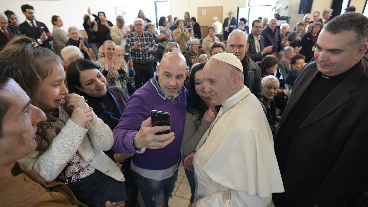 Pope Francis visits the Rome parish of Saint Paul of the Cross in the Corviale suburb in April 2018