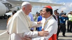 Pope Francis with Card. Charles in Myanmar in November, 2017.