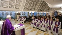 Pope Francis preaches the homily at the daily Mass at the Casa Santa Marta