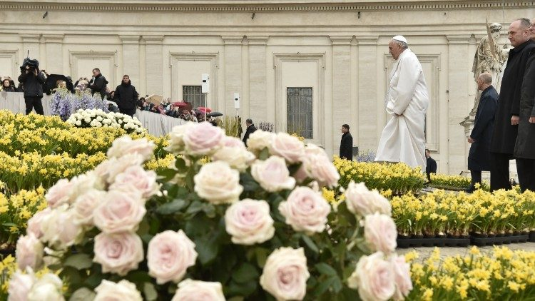 St Peter's Square is decked with flowers for Easter Week