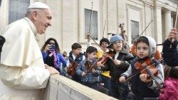 Pope Francis greets young artists at the Wednesday General Audience