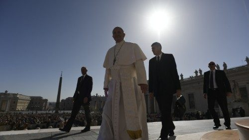 Pope Francis arrives in St Peter's Square for his weekly General Audience