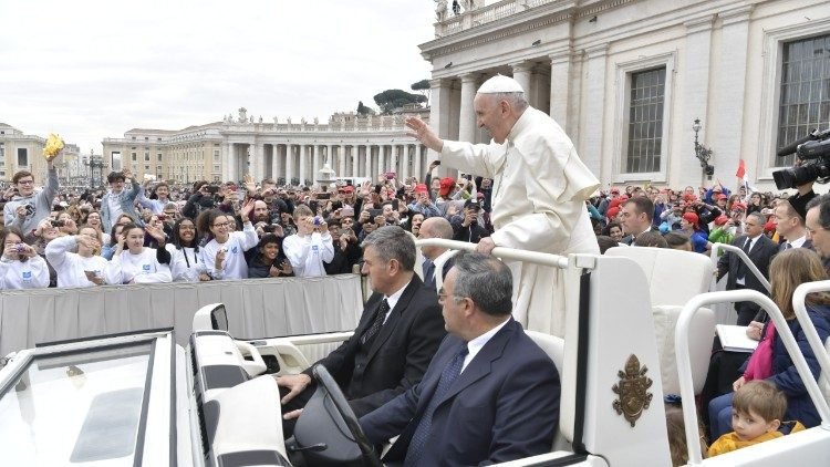 Pope Francis arrives in St. Peter's Square for the weekly General Audience