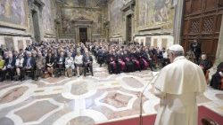 Pope addressing participants in conference organized by the Centesimus Annus pro Pontifice Foundation, 26 May, 2018.