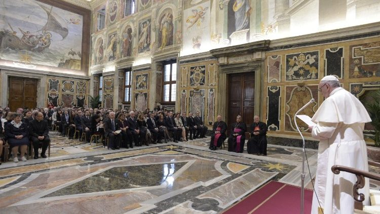 Pope Francis meets with Avvenire's staff and their families