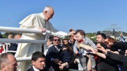 Pope Francis greets the faithful in Alessano