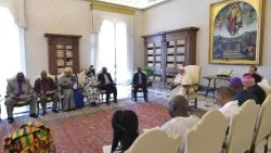 Pope Francis addressing representatives of the Organization of African Instituted Churches (OAIC) in the Vatican on JUne 23, 2018.