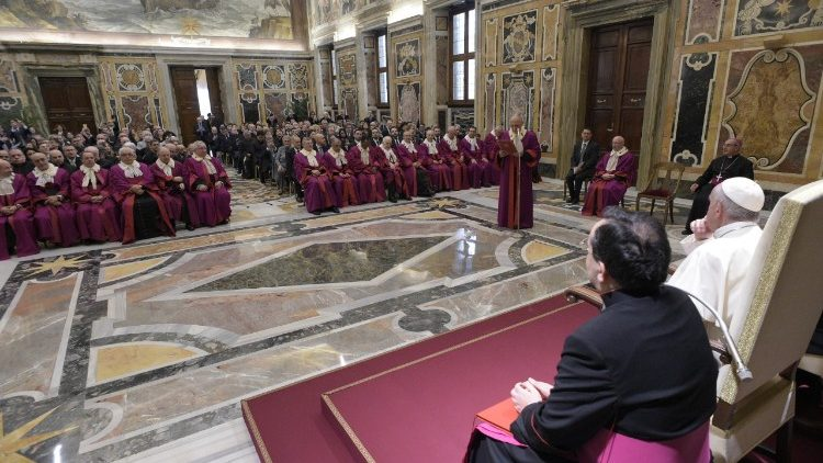 Pope Francis addresses members of the Roman Rota at the inauguration of the judicial year