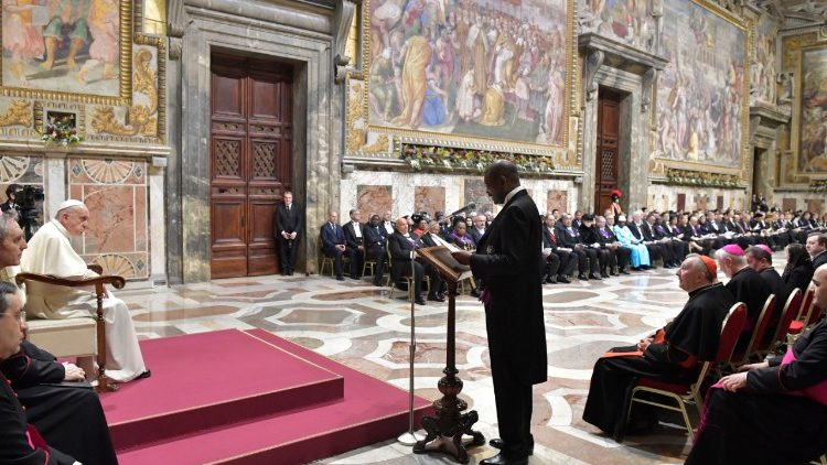 Pope Francis addresses members of the Diplomatic Corps in the Vatican
