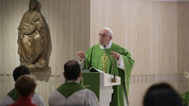 Pope Francis delivering his homily at Mass in Santa Marta chapel, on 9 January, 2018.