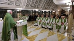 Pope Francis preaches the homily at the morning Mass at the Casa Santa Marta on Thursday.