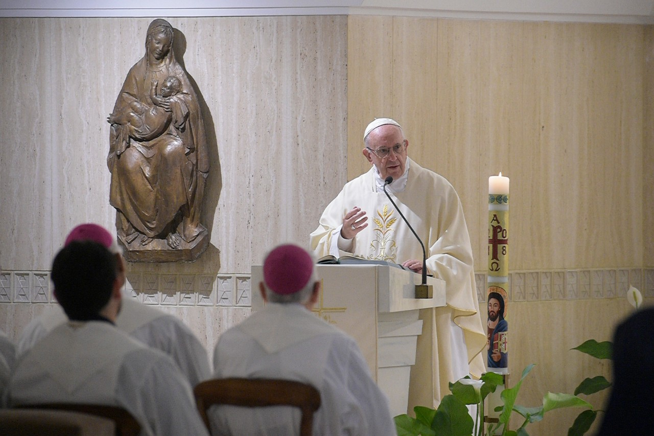 Pope Francis at Mass at Casa Sant Marta in the Vatican on May 8, 2018.