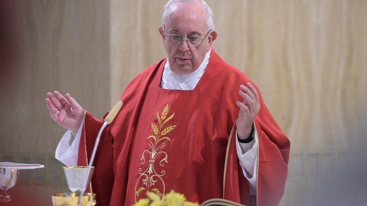 Pope Francis celebrates Mass at Casa Santa Marta