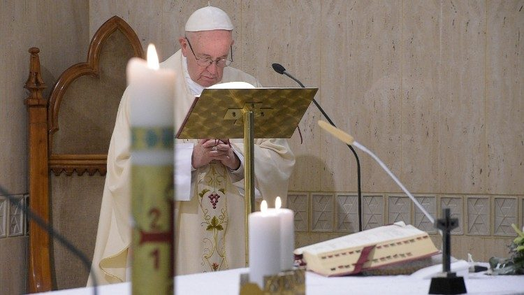 Pope Francis at Mass in the Casa Santa Marta on Friday