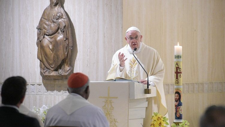 Pope Francis at Mass in the Casa Santa Marta on Monday