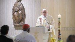 Pope Francis at Mass in the Casa Santa Marta on Monday