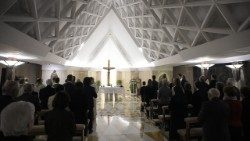 Pope Francis celebrates Mass at the Casa Santa Marta on Thursday.