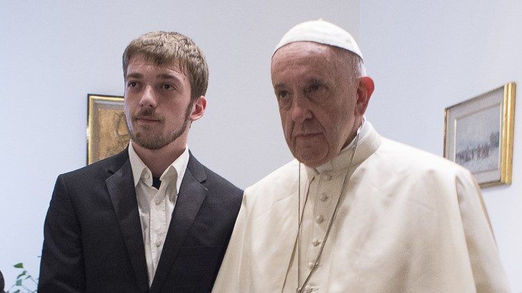 Pope Francis meets with Thomss Evans 18 April 2018